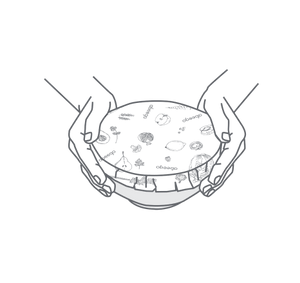 Illustration of Abeego wrapped over a bowl