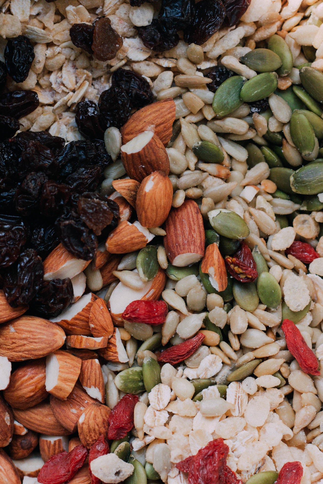 almonds, pumpkin seeds, dried fruit