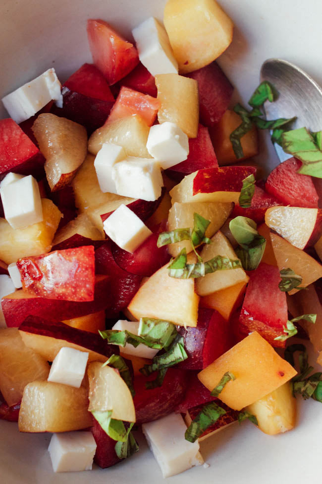 peaches, plums, nectarines, feta and basil fruit salad