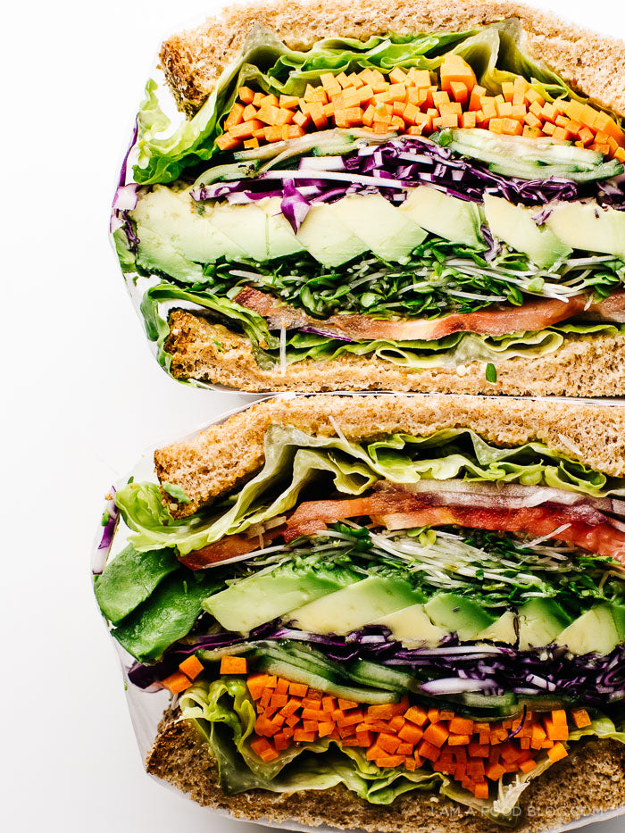 Ultimate Veggie Sandwich Avocado Tomato Carrots Lettuce Cabbage Sprouts