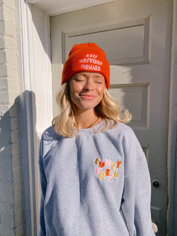 KEEP MOVING FORWARD EMBROIDERED BEANIE