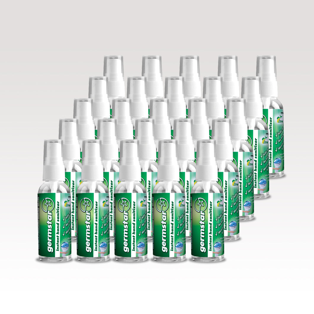 Twenty-five small cylindrical clear bottles with green labels, white spray tops and clear caps.