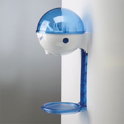 32oz Germstar® Hands Free Dispenser (Blue/White) Wall Mount with Blue Drip Tray