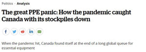 HOW THE PANDEMIC CAUGHT CANADA WITH ITS PPE STOCKPILES DOWN