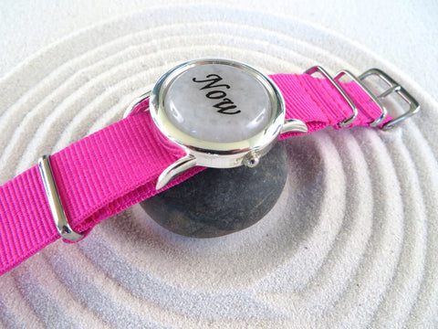 White Jade Zen Watch Pink