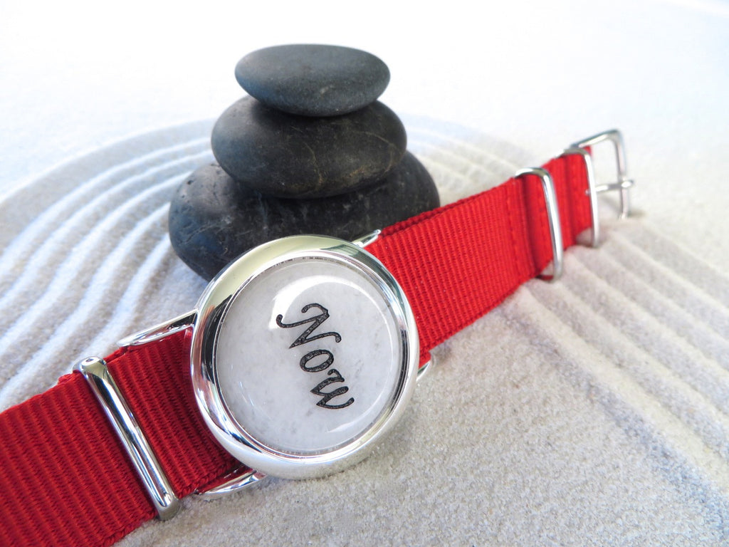 White Jade Zen Watch Red