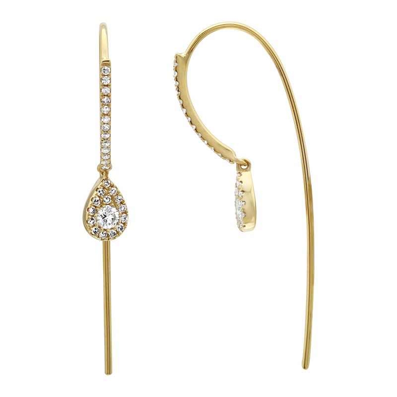Pave Wire with Pear Drop Earring