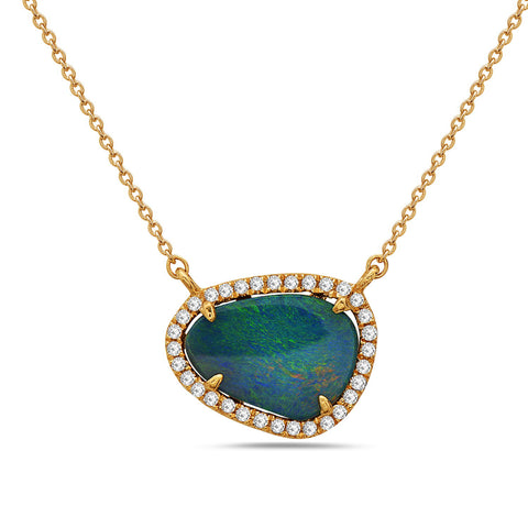 Black Opal Doublet with Diamond Halo Necklace
