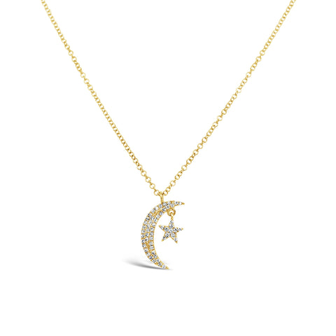 Pave Diamond Moon & Star Necklace