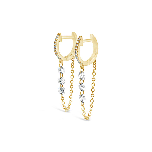 Diamond Hoops with Triple Floating Diamond Chain