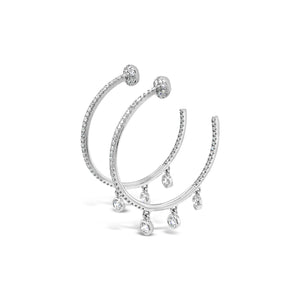 Diamond Hoops with Triple Diamond Fringe