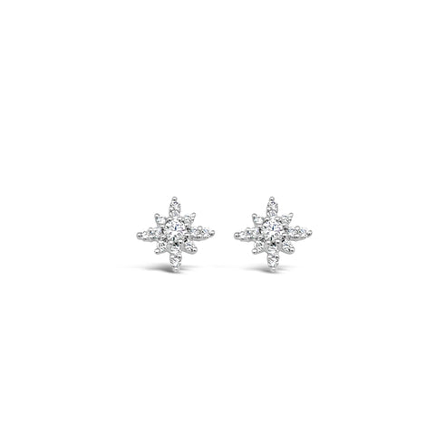 Diamond Starburst Stud Earring
