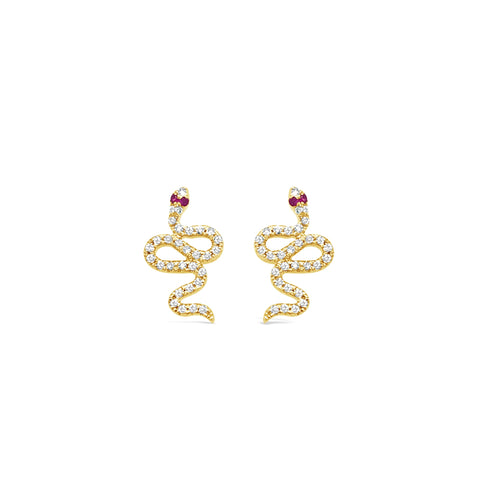 Diamond Snake Earrings with Ruby Eyes