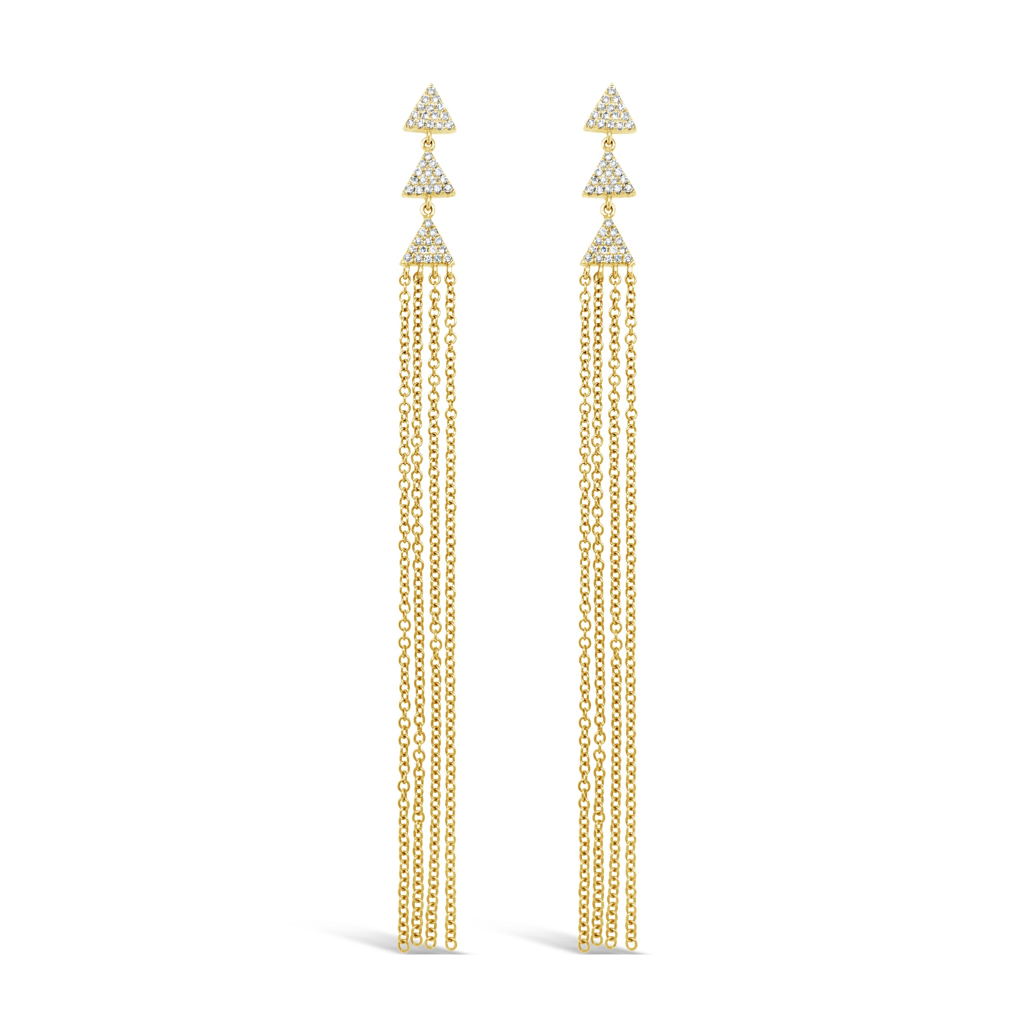Triple Pave Triangles with Long Chains Earring