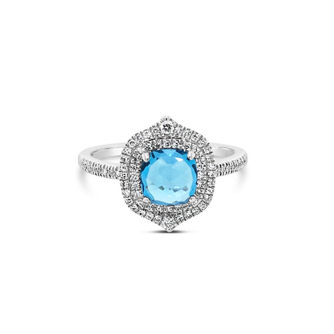 Blue Topaz & Pave Diamond Ring