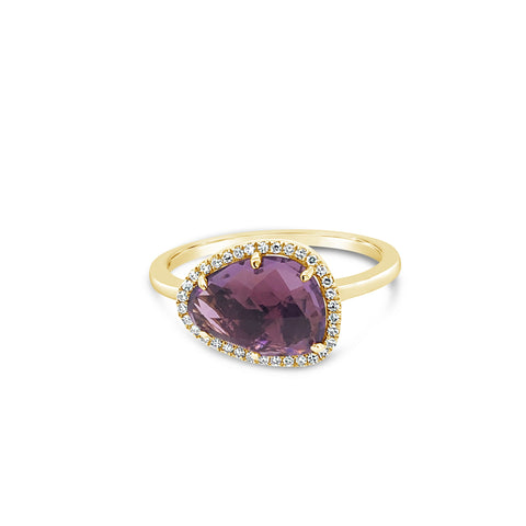Asymetrical Amethyst Diamond Halo Ring