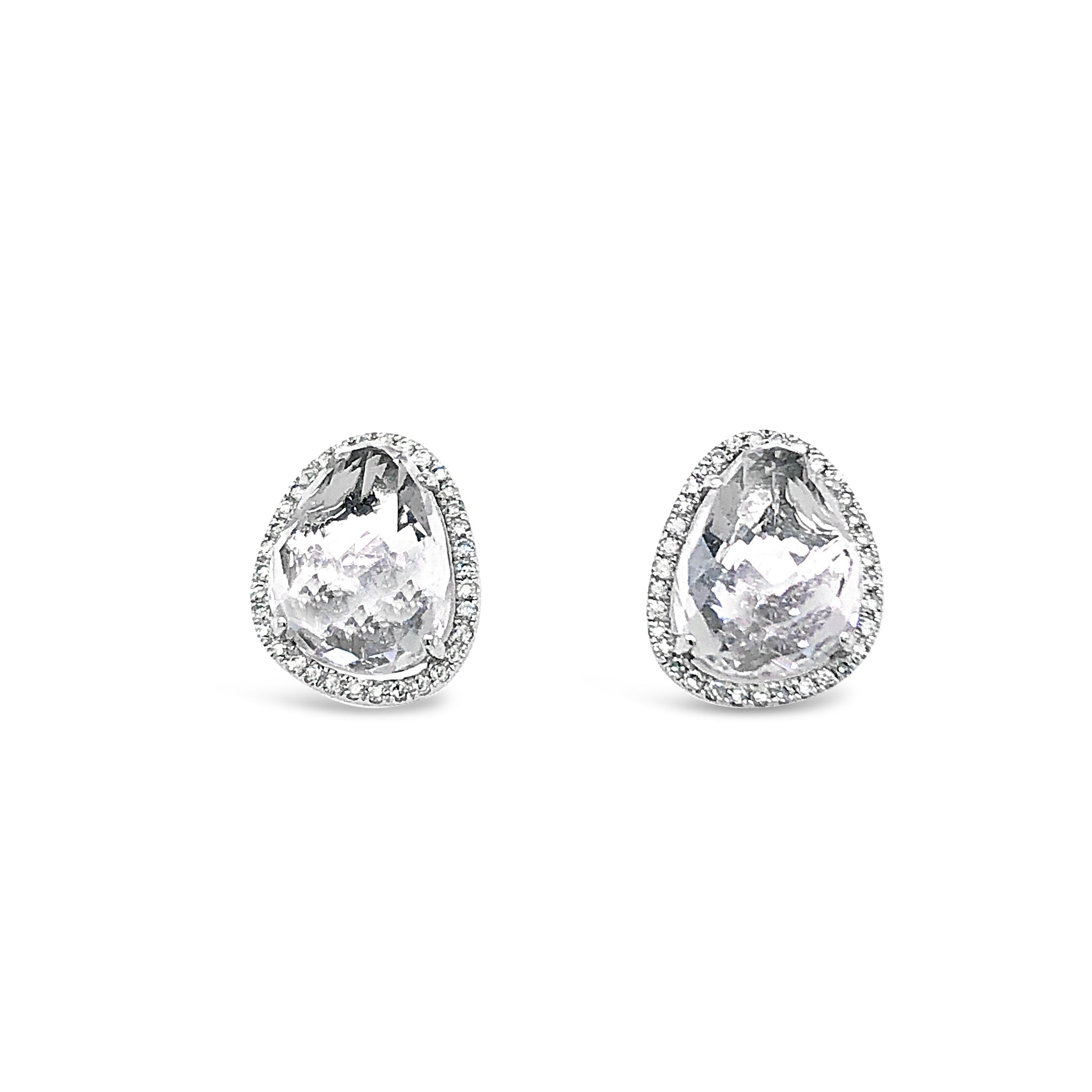 Large White Topaz Diamond Halo Stud Earring