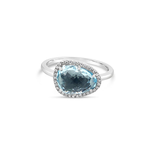 Asymetrical Blue Topaz Diamond Halo Ring