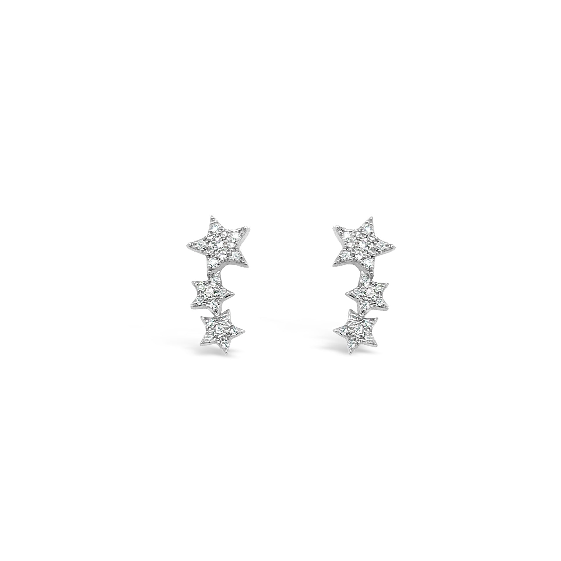 Diamond Triple Star Stud Earring