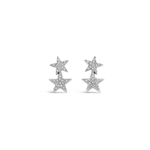 Pave Double Star Stud Earring