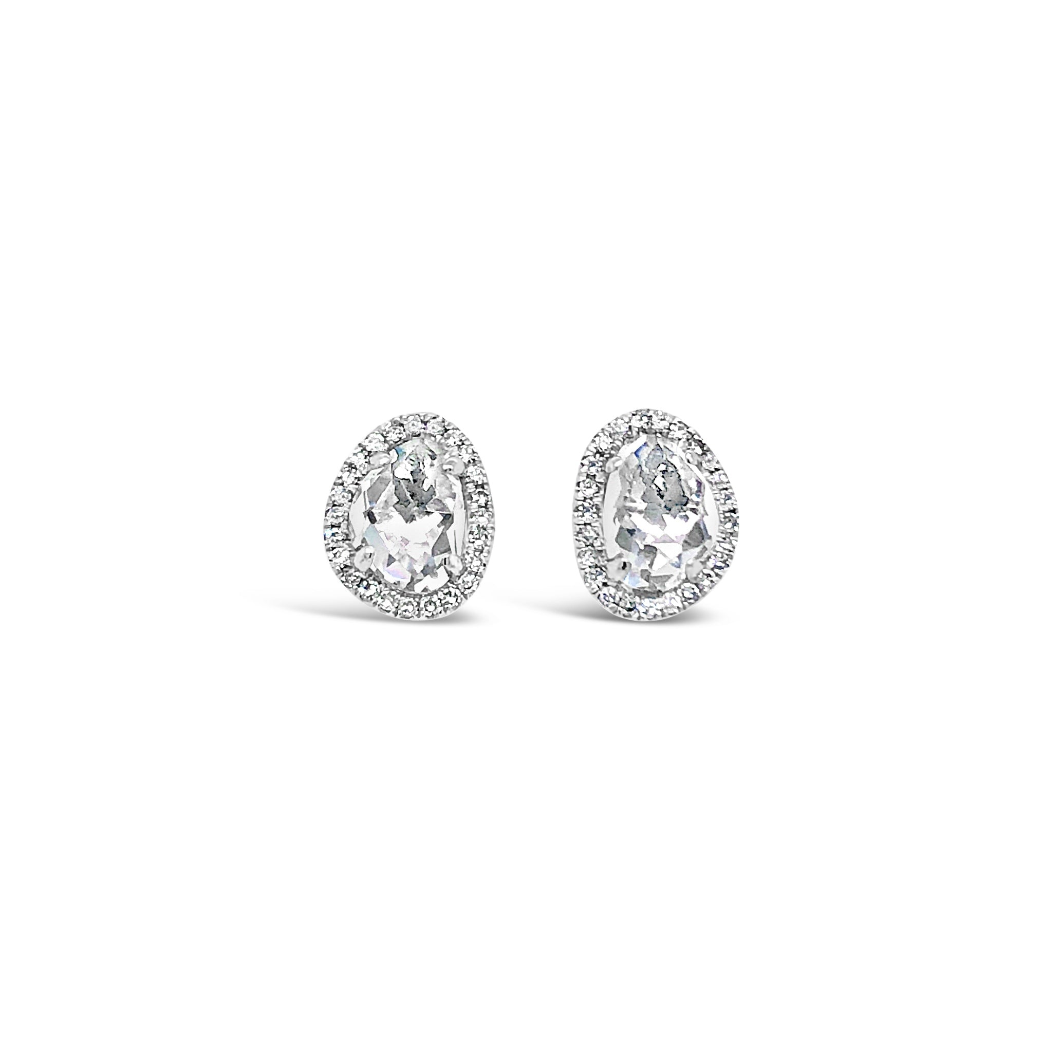 Diamond Halo White Topaz Stud Earring