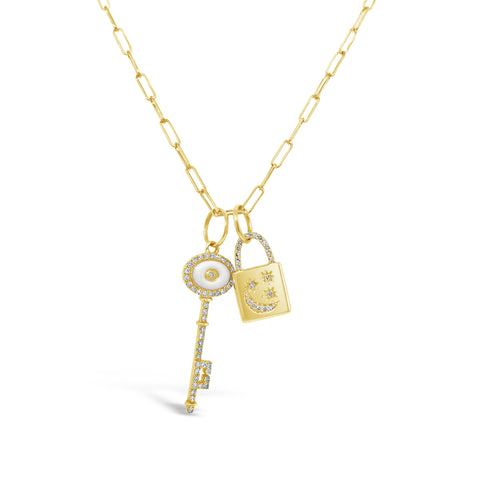 Lock & Key Charms on Paper Clip Style Chain