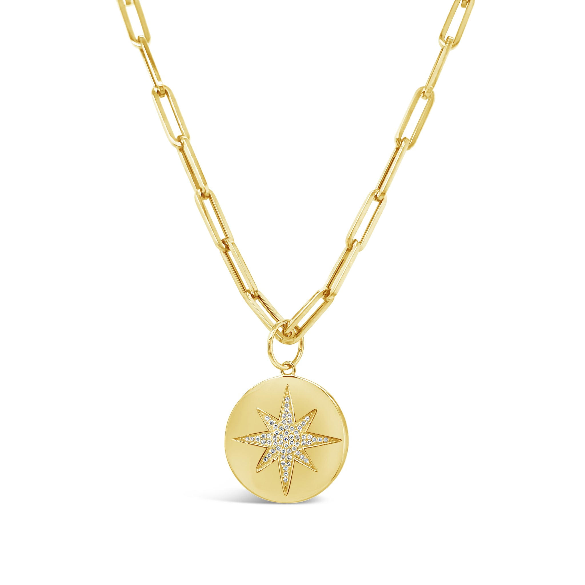 Pave Star Disc on Paper Clip Style Chain