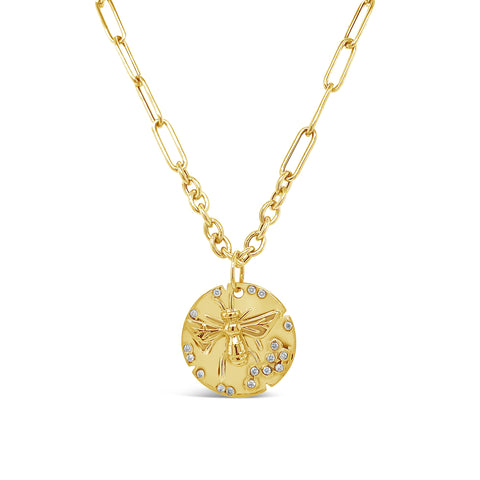 Diamond Bee Disc on Oval and Paperclip Style Chain
