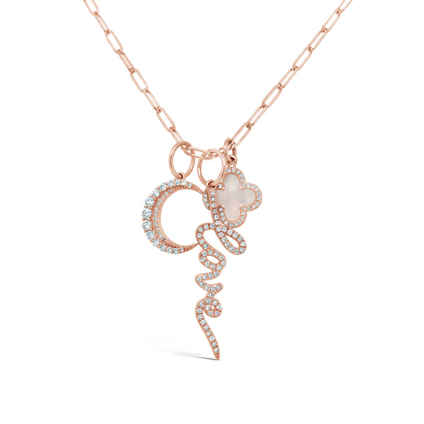 Love, Clover & Moon Charm Necklace