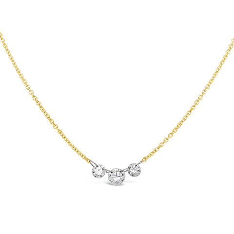 Floating Triple Diamond Necklace