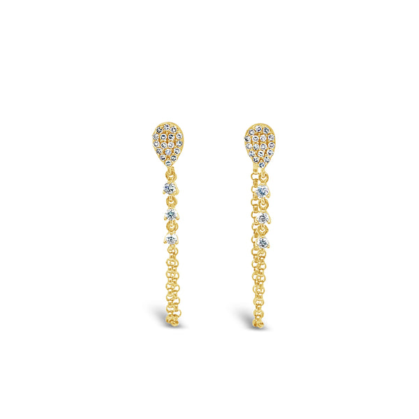 Pave Pear Stud with Diamond Chain Earring