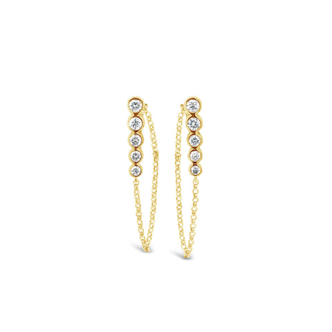 Diamond Bezel Bar with Chain Loop Earring