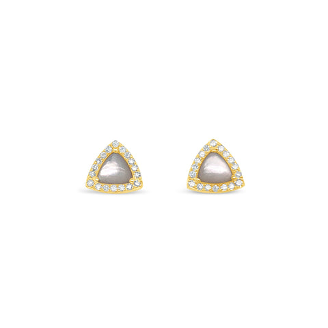 Diamond Halo Mother of Pearl Stud Earring