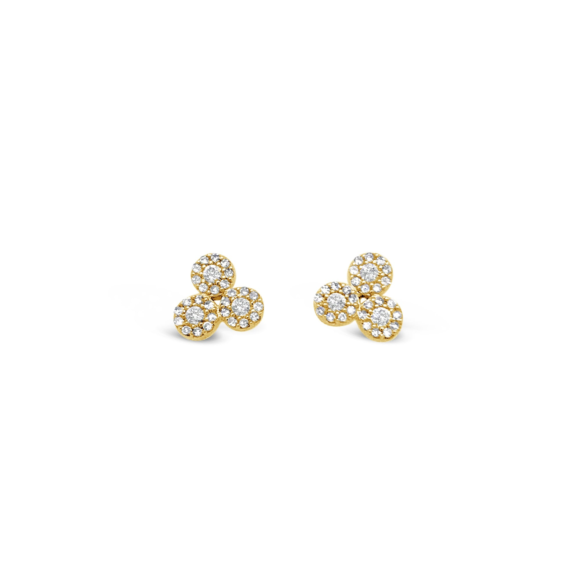 Triple Bezel Diamond Stud Earrings