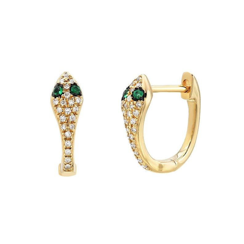 Pave Diamond Snake Hoops