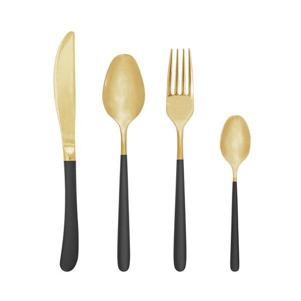 Besteck Set 4-teilig Black & Gold