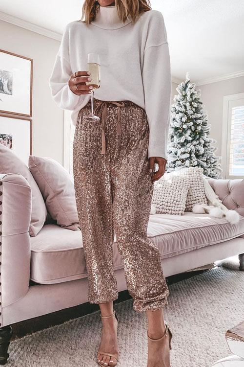 Lanagal Casual Style Sequin Pants