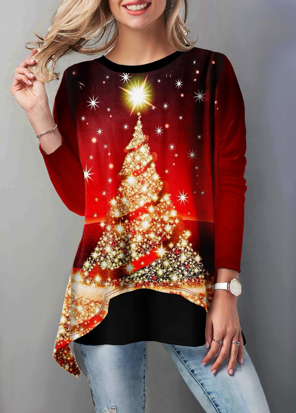 Round Neck Christmas Tree Print T Shirt