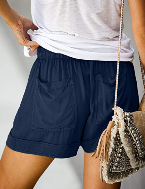Women's Summer Casual Drawstring Elastic Waist Comfortable Solid Color Shorts