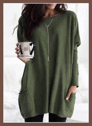2019 Casual Loose-Fit Front Pockets Long Sleeves Cotton Tee