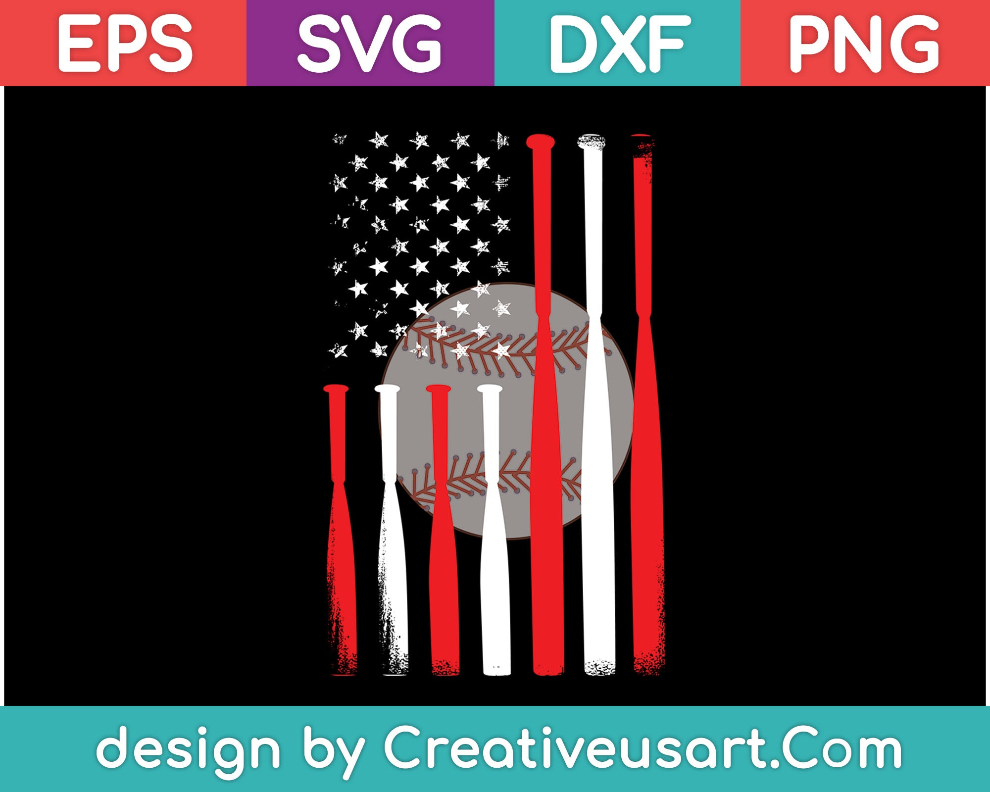 American Flag Vintage Baseball Flag Files Creativeusart