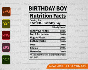 Birthday Facts Nutrition Facts Svg Png Files Creativeusart