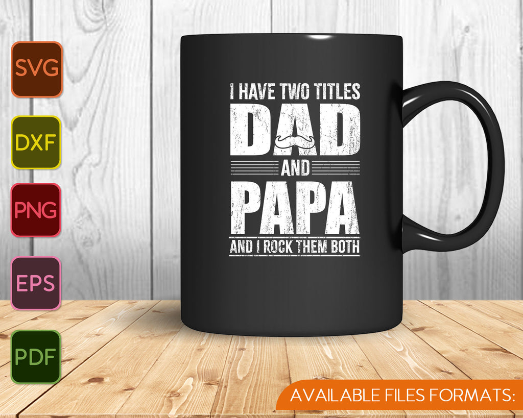 Free Happy father's day badge with sticker style necktie, smartphone, fedora hat, glasses, wristwatch, mustache stick and coffee cup on blue strip background. Dad And Papa Shirt Design Cool Father S Day Gift Svg Png Files Creativeusart SVG, PNG, EPS, DXF File