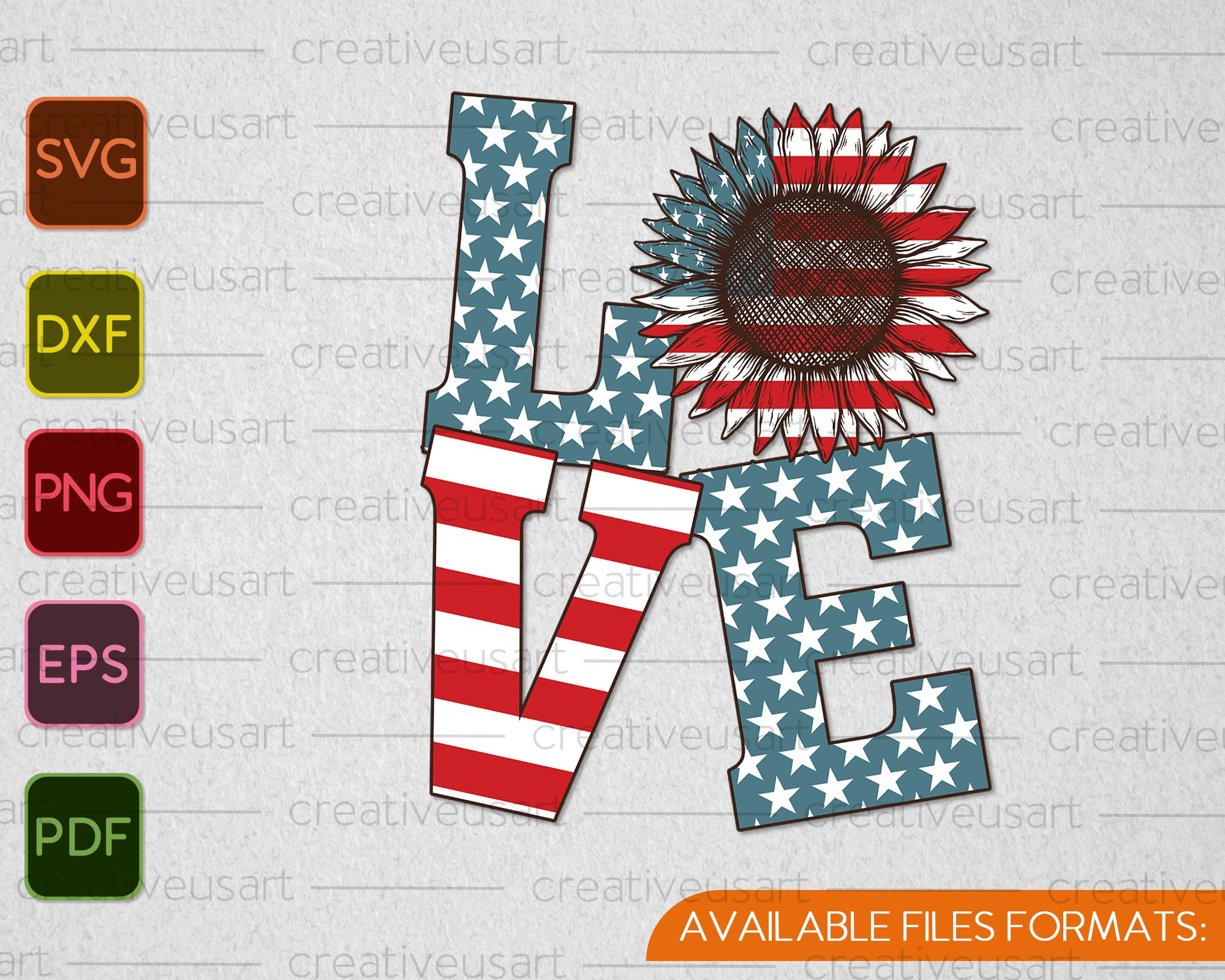 Love 4th Of July Sublimation Design Svg Png Files Creativeusart
