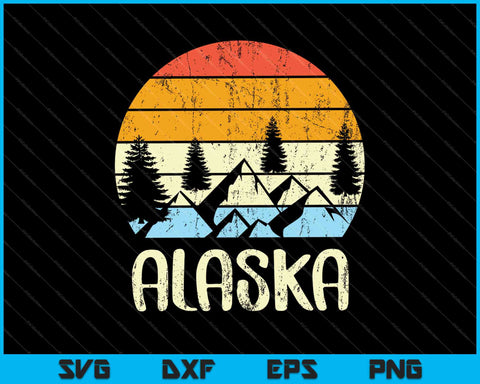 Vintage AK, Alaska Mountains Outdoor Adventure SVG PNG Cutting Printable Files