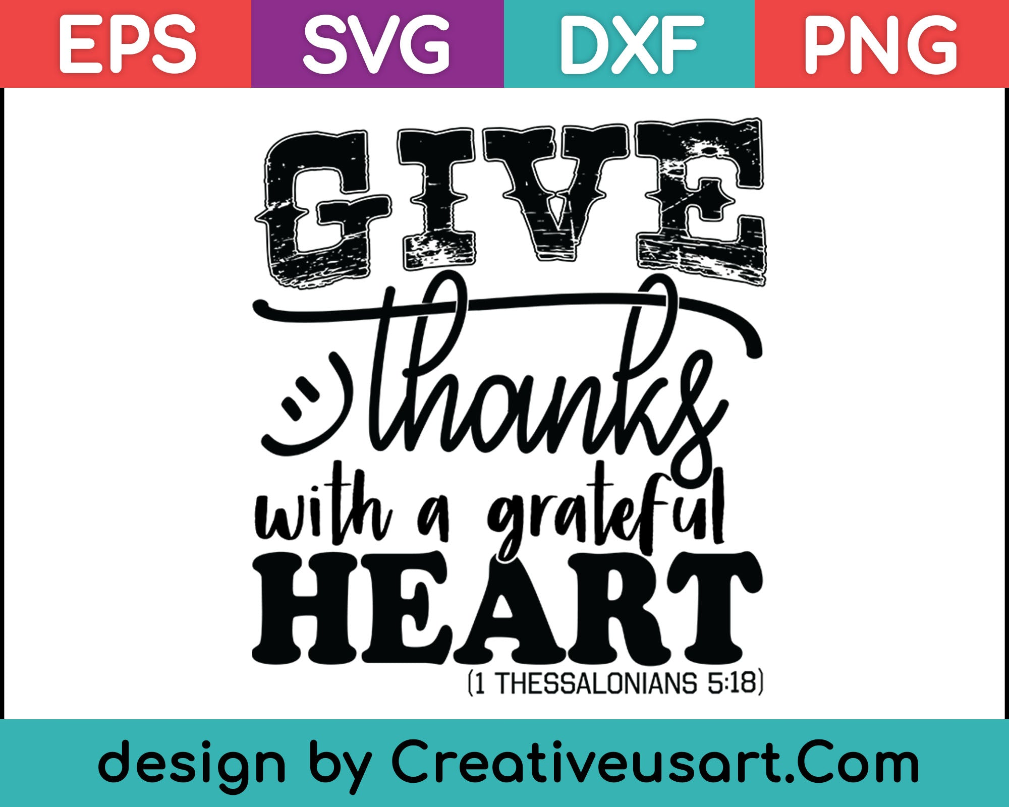 Give Thanks With A Greatful Heart Svg Files Creativeusart