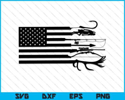 Hunting and Fishing American Flag SVG PNG Cutting Printable Files