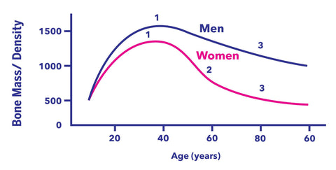 Bone Mass Density Graph according to age and gender