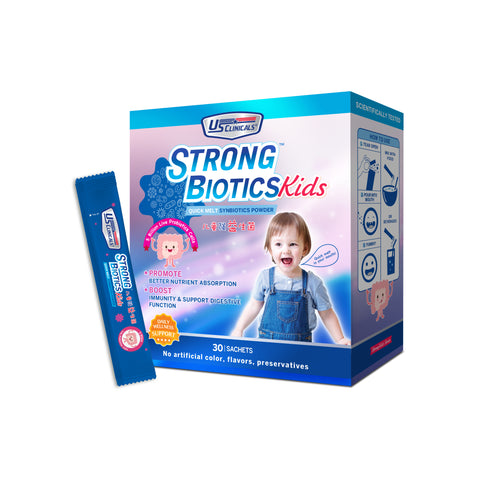 US Clinicals StrongBiotics Kids help strengthen your kids digestion system. A great body health starts with a good digestive system.