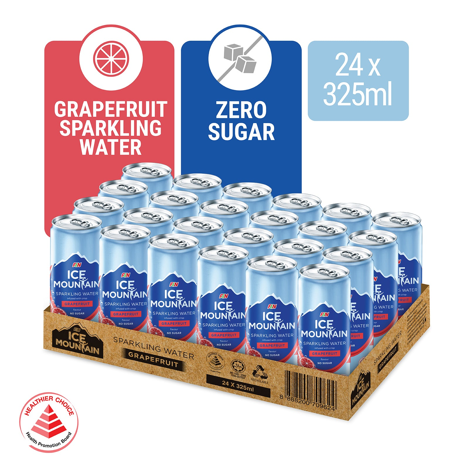 1172368-ICE MOUNTAIN Sparkling Water Grapefuit 325ml x 24